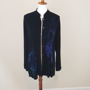 Chico's Traveler's Black Blue Embroidered Cardigan